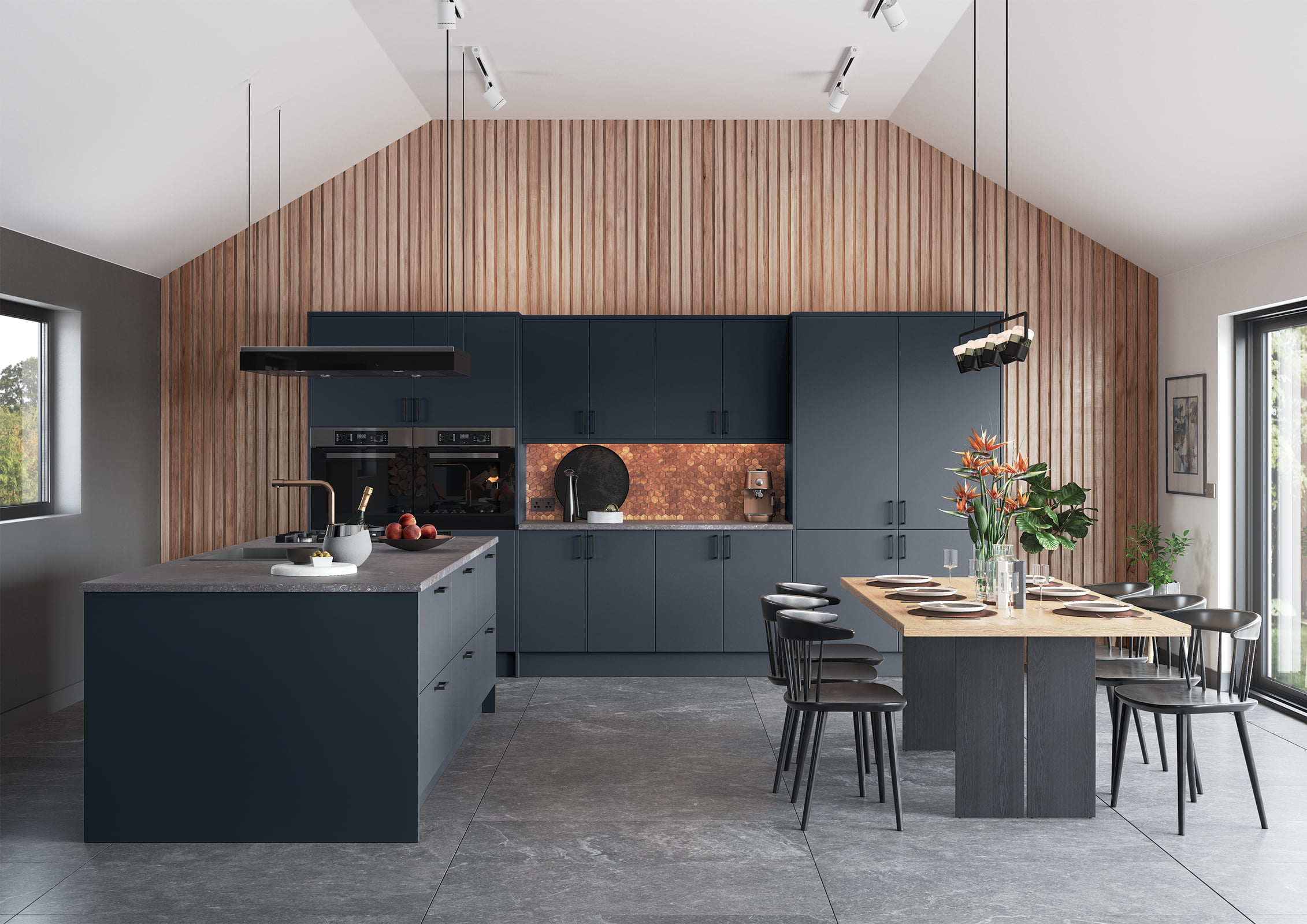 Zola Matte Slate Blue Kitchen Design | Oxted Kitchens